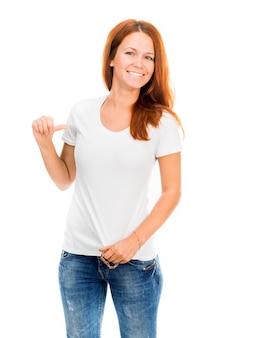 Meisje in wit t-shirt