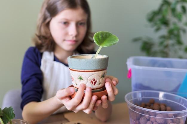 Meisje kind plant blad van saintpaulia jonge plant in pot. gebruikt spatel, gieter, gemalen. nieuwe plant in huis, verzorging, hobby, kamerplant, potvrienden, kinderconcept
