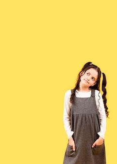 Meisje met de stijl exemplaar-ruimte van haarvlechten