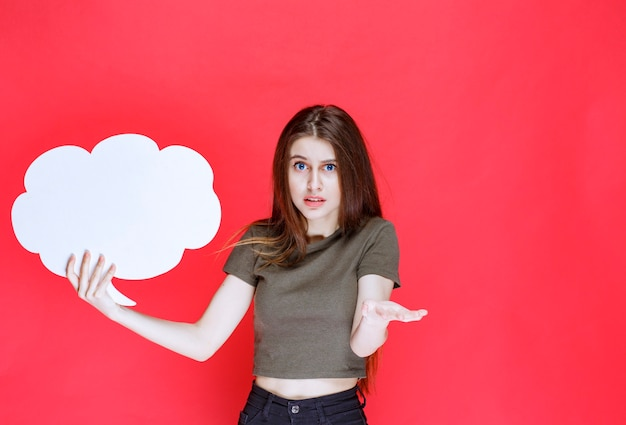 Meisje met een infobord in de vorm van een wolk en ziet er verward uit.
