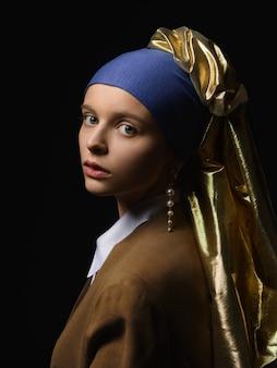 Meisje met een parel oorbel moderne mode-interpretatie