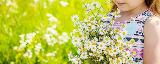 Meisje met kamille. foto. natuur bloemen.