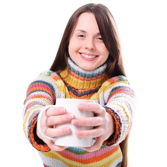 Meisje met kopje thee