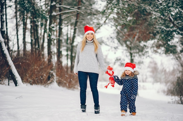 Meisje met moeder het spelen in een de winterpark