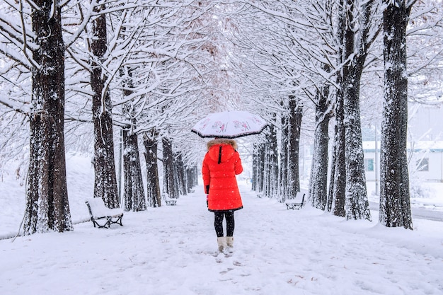 Meisje met paraplu lopen op het pad en de rij bomen. winter