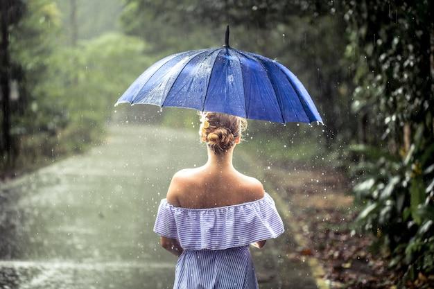 Meisje met paraplu onder de regen