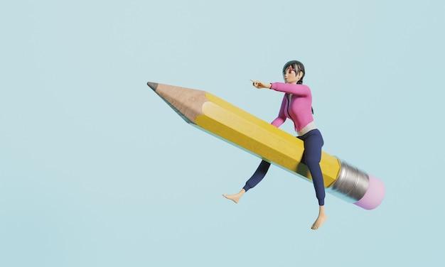 Meisje op een potlood terug naar school gestileerd 3d karakter