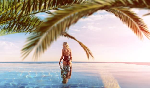 Meisje op vakantie ontspannen in een tropisch zwembad