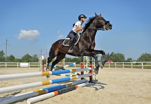 Meisje rijdt op een paard springt over een barrière op training.