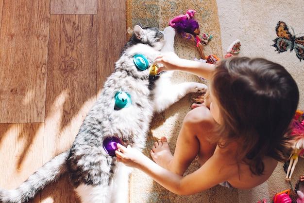 Meisje speelt met kat, huisdier en zijn kleine meesteres