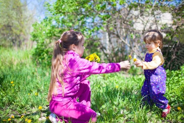 Meisje zittend op het gras en bloeiende gele paardebloembloemen geven aan kleine jongen in jumpsuit buiten op groene natuur op zonnige heldere zomerdag. gelukkig jeugdconcept
