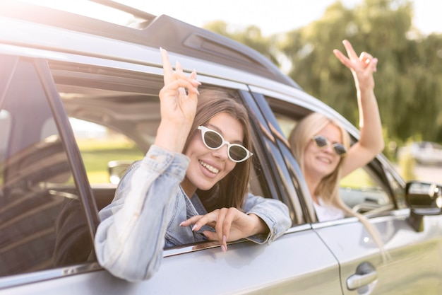 Meisjes gaan op reis in hun auto
