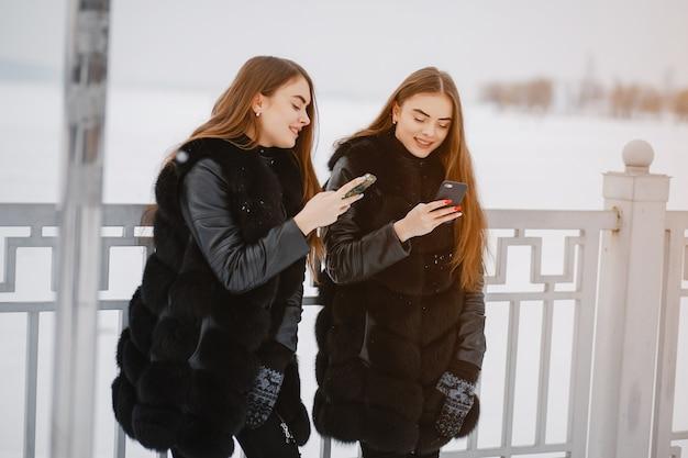 Meisjes in een winterpark
