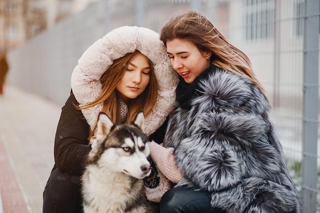 Meisjes met hond