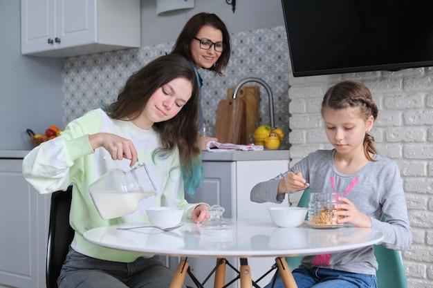 Meisjes ontbijten zittend aan tafel in eigen keuken, tienerzussen