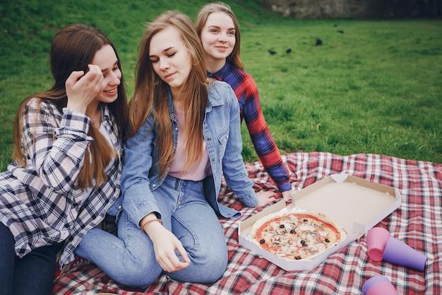 Meisjes op een picknick