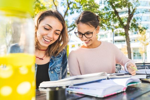 Meisjes samen studeren in het park