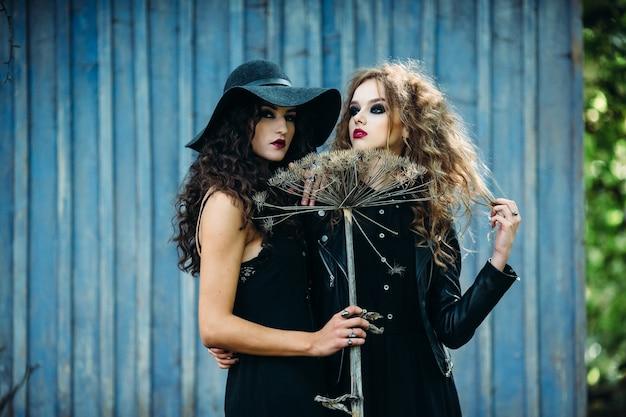 Meisjes vermomd als heks poseren met een bezem
