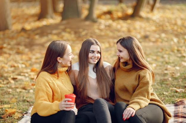 Meisjes zitten op een deken in een herfst park