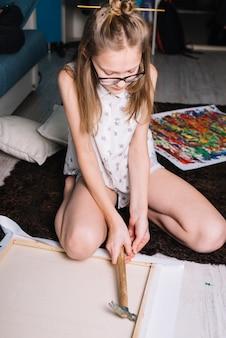 Meisjesrek op canvas op houten frame