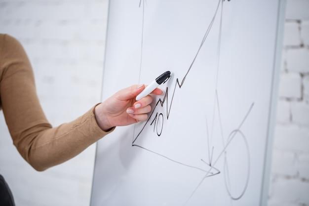 Meisjeszakenman, leraar, trainer geeft les en praat over een nieuw project dat bij het bord staat