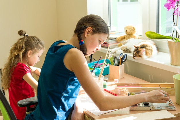 Meisjeszusters schilderen thuis met waterverf