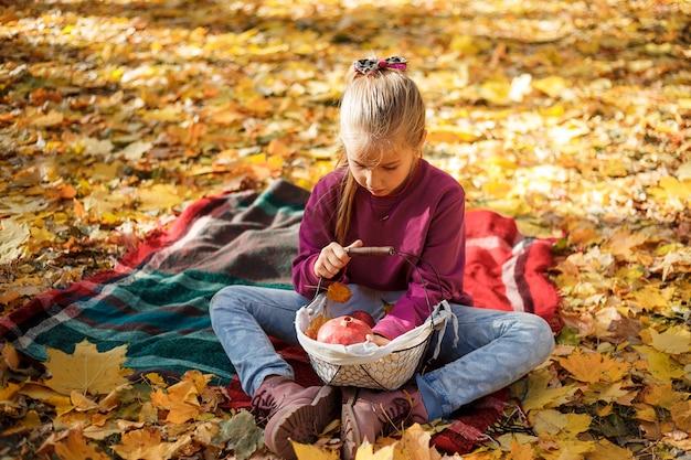 Meisjezitting op een sprei met een mand van appelen in de herfstpark