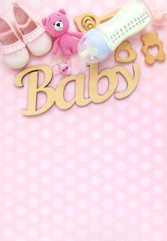 Melk in een fles en babyaccessoires. selectieve aandacht. eten.