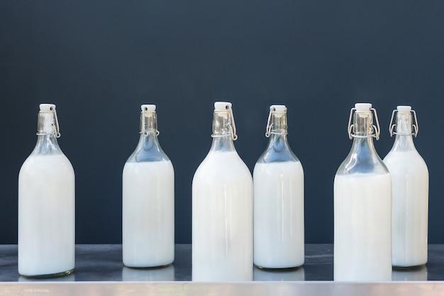 Melk in grote glazen flessen op grijs.