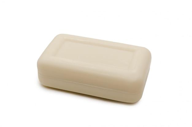 Melkachtig rechthoekig stuk zeep geïsoleerd