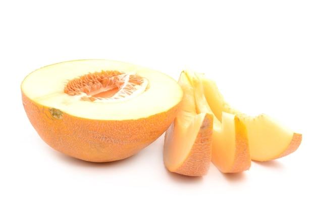 Meloen op een wit geïsoleerd oppervlak