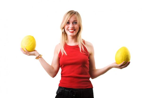 Meloenen en vrouw
