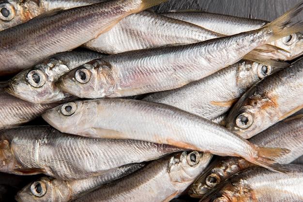 Menigte van tonijn bovenaanzicht