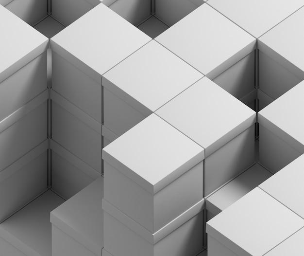 Menigte van witte dozen