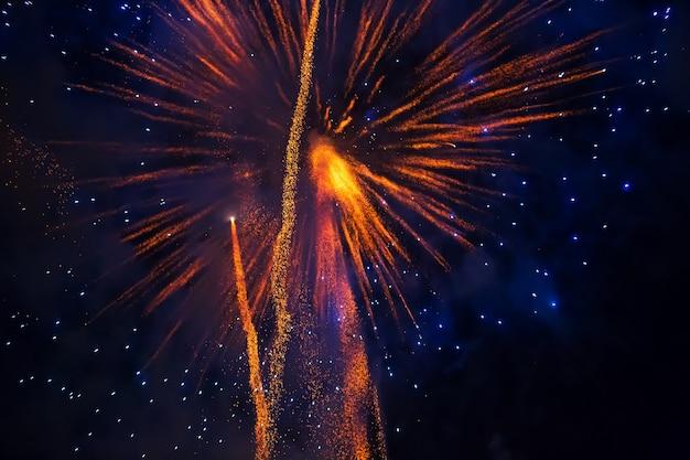 Mening aan vuurwerk bij hemel in nacht