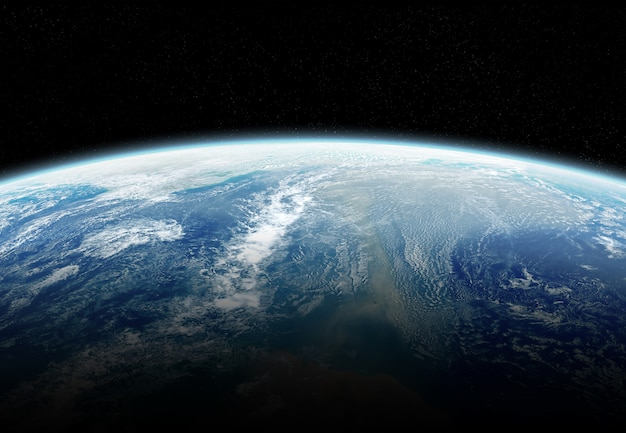 Mening van aarde dichte omhooggaand met atmosfeer tijdens een zonsopgangelementen van dit beeld dat door nasa wordt geleverd
