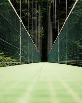 Mening van hangbrug over het regenwoud van costa rica
