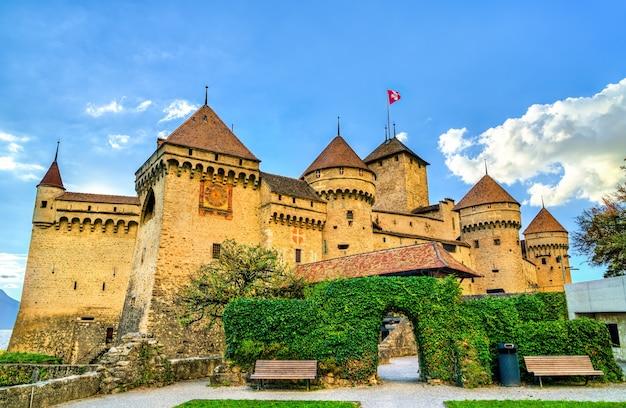 Mening van kasteel chillon aan het meer van genève in zwitserland