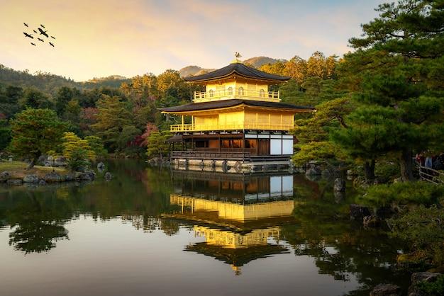Mening van kinkakuji het beroemde gouden paviljoen met japanse tuin en vijver met dramatische avondhemel in de herfstseizoen in kyoto, japan.