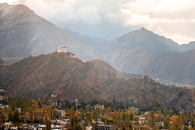 Mening van landschap namgyal tsemo gompa in leh, ladakh, india
