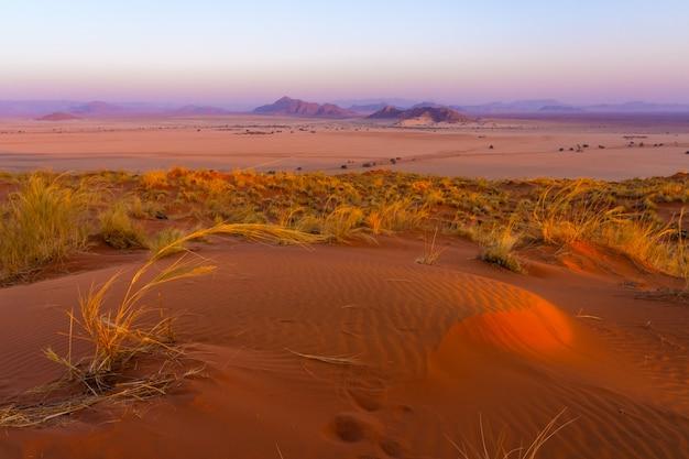 Mening van sesriem bij zonsondergang vanaf de bovenkant van het elim-duin in namibië