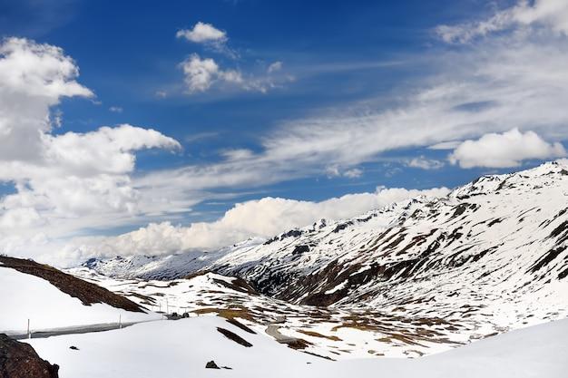 Mening van weg door het zwitserse nationale park in zonnige de lentedag.