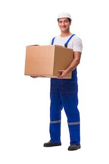 Mens die doos levert die op wit wordt geïsoleerd
