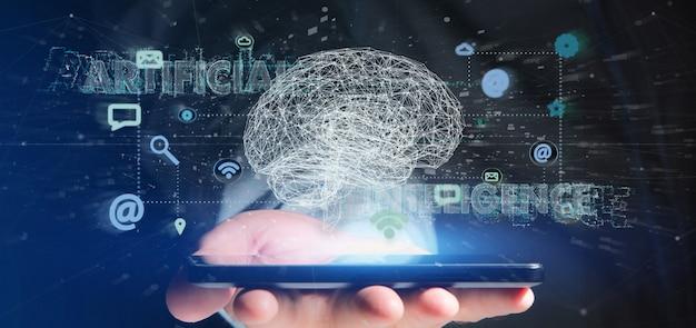 Mens die een 3d teruggevend kunstmatig intelligentieconcept met hersenen en app houdt