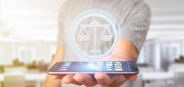 Mens die een pictogram van de technologierechtvaardigheid op cirkel het 3d teruggeven houdt