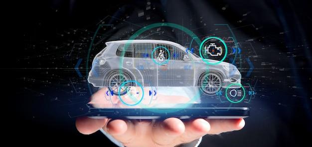 Mens die een smartcar met het controleren 3d teruggeven houdt