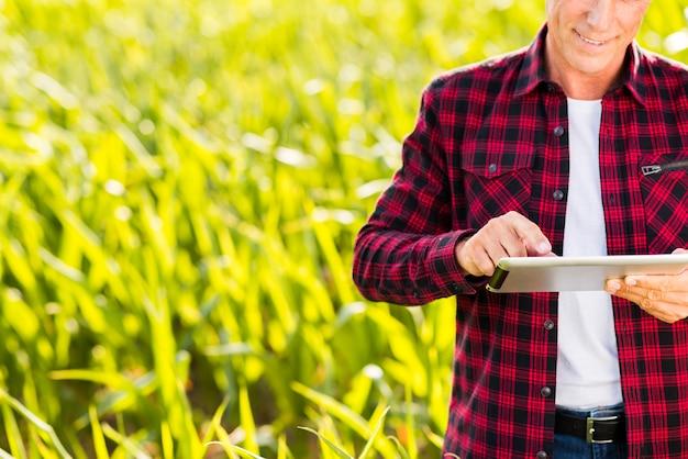 Mens die een tablet op een maïsveld gebruikt