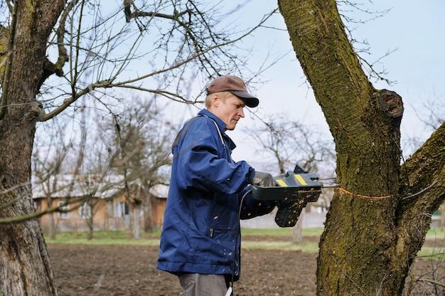 Mens die een verdorde boom snijdt