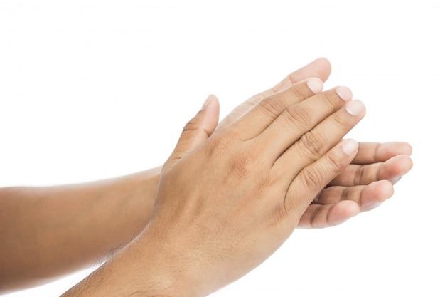Mens die handen, applaus slaan die op wit wordt geïsoleerd