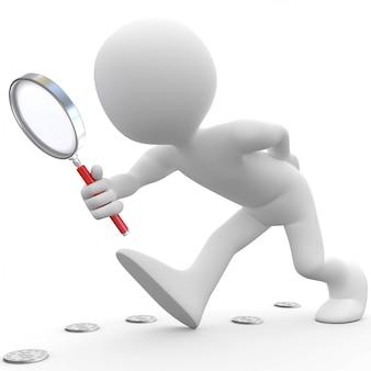 Mens die met vergrootglas muntstukken zoekt